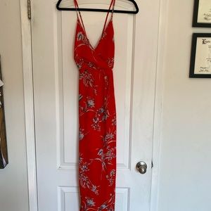 Bright red wrap looking dress